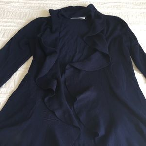 NWT Carolyn Taylor Blue Ruffled Cardigan